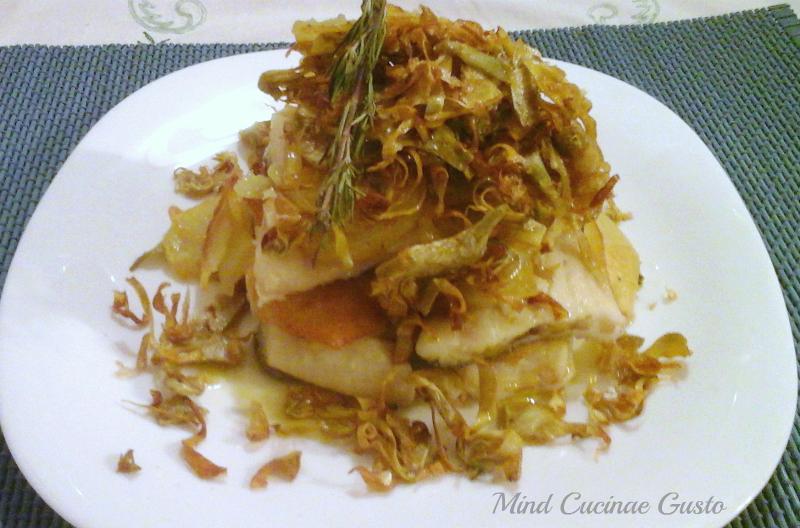 Millefoglie di baccalà con patate e carciofi croccanti