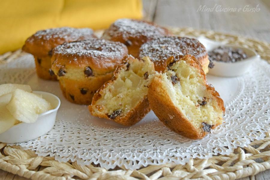 muffin pere e gocce di ciococlato senza burro