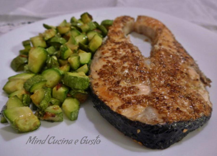 salmone con zucchine al profumo di menta