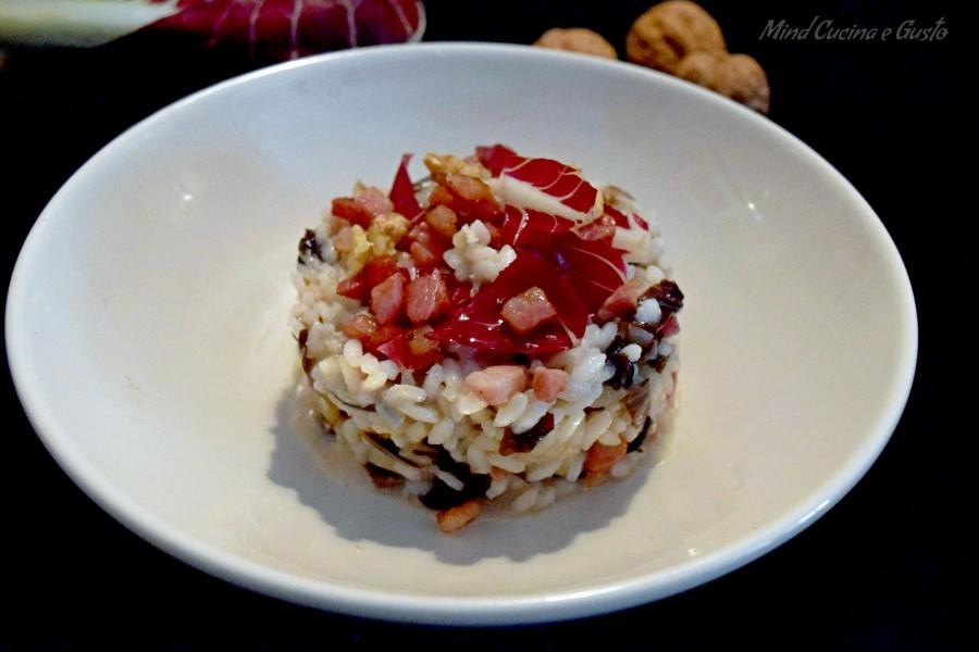 Risotto autunnale radicchio pancetta e gorgonzola