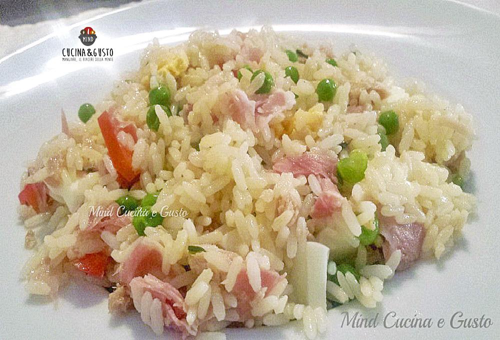 Insalata di riso con olio al basilico