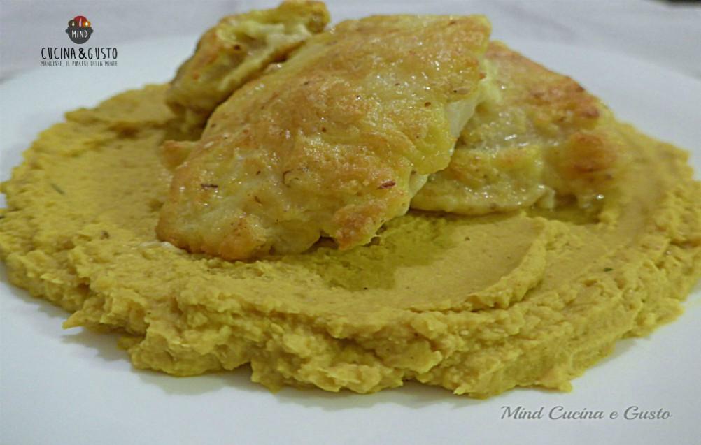 Baccalà con crema di ceci al curry