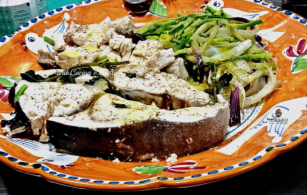 Pesce spada con verdure al vapore
